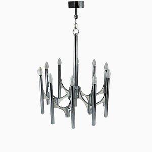 Lámpara de techo Mid-Century grande de metal de Gaetano Sciolari