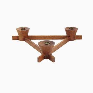 Candelabro italiano de latón y madera de Anri Form, años 60
