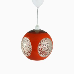 Orangefarbene UFO Deckenlampe aus Kunststoff von Luigi Colani, 1970er