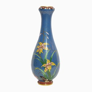 Chinese Blue Cloisonné Vase with Flower Painting, 1950s