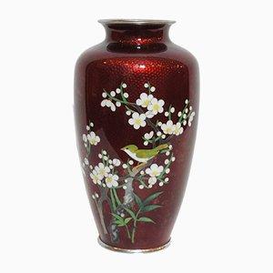 Japanische rote Cloisonné Vase, 1950er