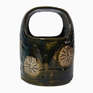 Vintage Japanese Dark Green Ceramic Oribe Ware Hibachi Vase, 1930s