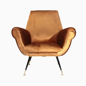 Mid-Century Italian Brass and Wood Armchair, 1960s