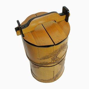 Japanese Bamboo Bento Box with Pine Tree Motif, 1868