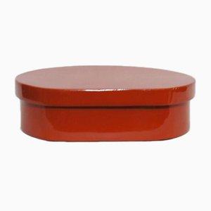 Fiambrera Wajima-Nuri japonesa de madera lacada en rojo, años 50