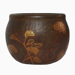 Japanese Lotus Leaf Motif Hibachi Vase, 1920s