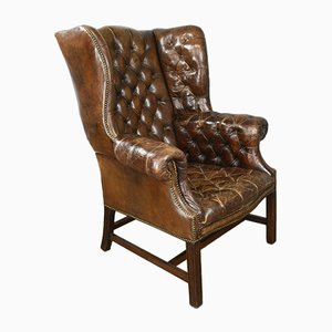 Antique Leather Button Back Wing Chair
