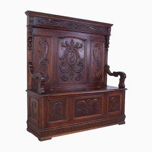 Handgefertigte italienische Vintage Holzbank, 1920er
