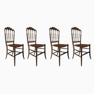 Mid-Century Italian Beech Dining Chairs, 1950s, Set of 4