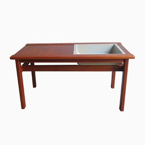 Danish Teak & Plastic Basin Table, 1970s