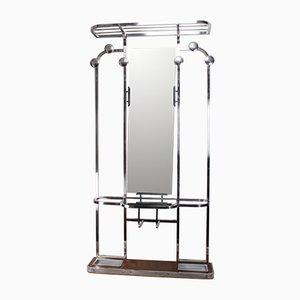 Attaccapanni Art Déco vintage in alluminio e vetro, Francia, anni '30