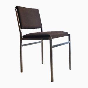 Sedia minimalista in metallo cromato e tessuto, anni '80