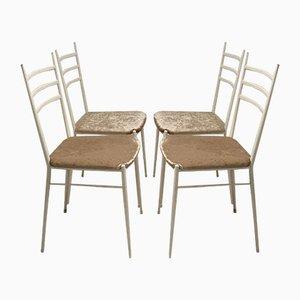 Sedie da pranzo in ottone e ferro di Gio Ponti, Italia, anni '50, set di 4