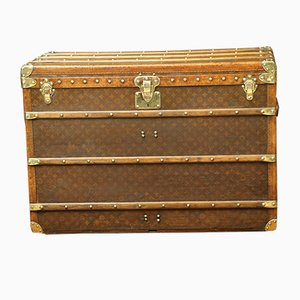Antique French Beech, Brass, and Leather Trunk by Louis Vuitton