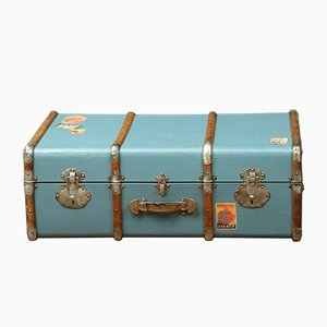 Vintage French Beech, Fabric, and Poplar Suitcase, 1920s