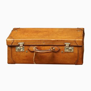 Vintage French Brass and Fabric Suitcase, 1920s