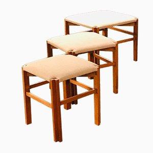 Hocker aus Holz & Tweed von Olaio, 1950er, 3er Set