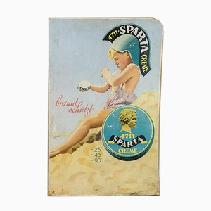 Cardboard Sparta Cream Advertising Sign by E. Pohl, 1950s