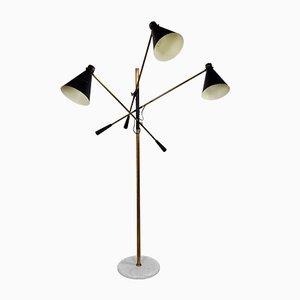 Lampada da terra regolabile a tre braccia di Stilnovo, Italia, anni '50
