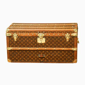 Antique French Beech, Brass, and Poplar Trunk by Louis Vuitton
