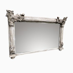 Antique French Carved Wood Overmantle Mirror