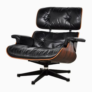 Leather and Metal Lounge Chair by Charles & Ray Eames for Herman Miller, 1970s