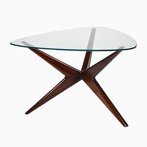 Table Basse Mid-Century en Verre et en Acajou, Italie, 1950s