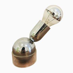 Lámpara de mesa italiana industrial de cromo y plexiglás de Lamperti, años 70