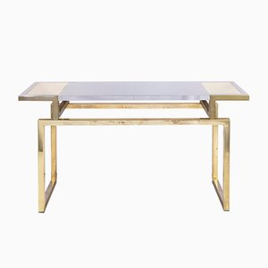Italian Brass and Steel Console Table by Sandro Petti, 1970s
