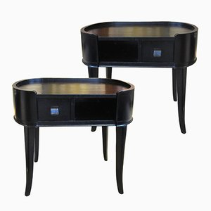 Danish Black Side Tables, 1940s, Set of 2