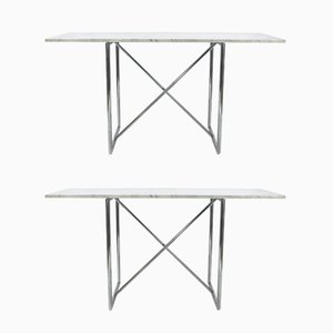 Italian Steel and Marble Console Tables from Bieffeplast, 1980s, Set of 2