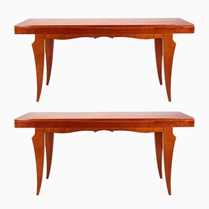 Mid-Century Italian Cherry Console Tables, 1950s, Set of 2