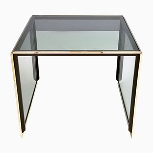 Italian Modern Brass and Smoked Glass Coffee Table by Romeo Rega, 1970s