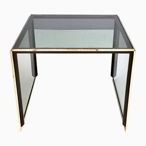 Mesa de centro italiana moderna de latón y cristal ahumado de Romeo Rega, años 70