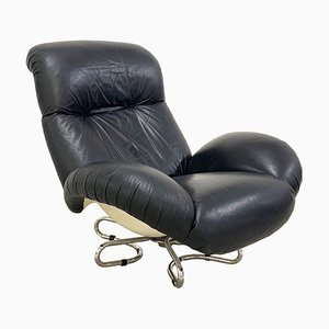 Fiberglass & Leather Swivel Chair by Bruno Gecchelin for Busnelli, 1970s