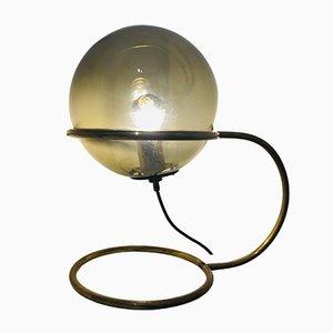 Lámpara de mesa antigua de vidrio y latón de Design Portugal, años 50