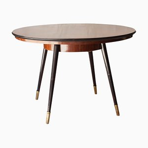 Circular Mid-Century Modern Italian Rosewood Dining Table, 1950s
