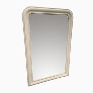 Antiker französischer Spiegel im Rahmen aus geschnitztem Holz & Gesso mit gewölbter Oberseite