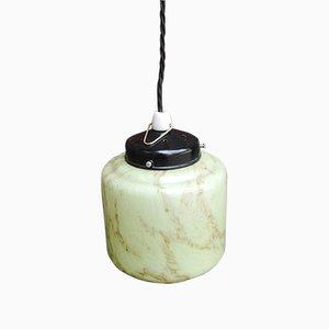 Vintage German Opaline Glass Ceiling Lamp, 1930s