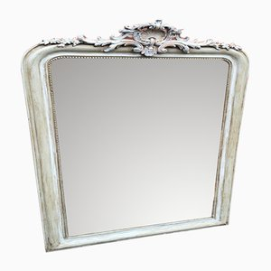 Antiker französischer Spiegel im Rahmen aus Holz & Gesso mit gewölbter Oberseite