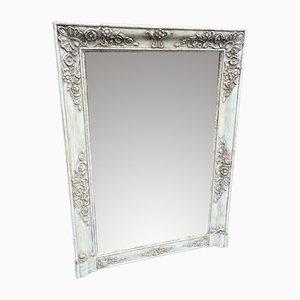 Antiker Spiegel im Rahmen aus bemaltem Holz & Gesso