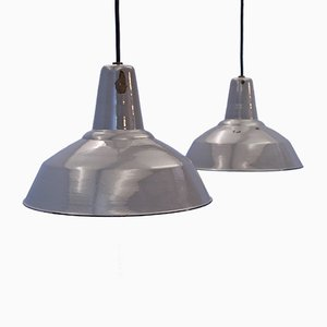 Industrial Enamel and Metal Ceiling Lamps, 1960s, Set of 2