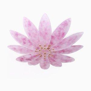 Plafón de latón con hojas de plamera de cristal de Murano rosa