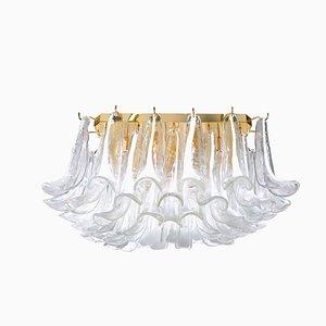 Lámpara de araña cuadrada con pétalos de cristal de Murano de Mazzega, años 90