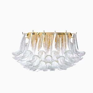 Murano Square Flush Mount Petal Chandelier from Mazzega, 1990s
