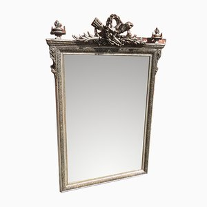 Antique French Carved Wood & Gesso Silvered Mirror