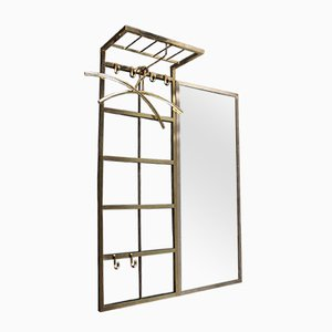 Vintage German Wall Rack with Mirror, 1970s