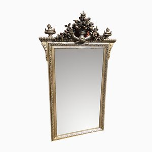 Antique French Carved Wood & Gesso Silver Gilt Mirror