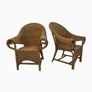 Vintage Armlehnstühle aus Rattan, 1970er, 2er Set