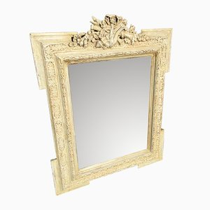Antique French Painted, Carved Wood & Gesso Mirror